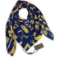 Женский платок шёлковый Louis Vuitton синий 00009