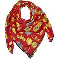 Женский платок шёлковый Louis Vuitton красный 00008