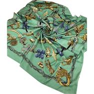 Шелковый платок HERMES зеленый 7105
