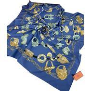 Шелковый платок HERMES синий 7107