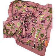 Шелковый платок HERMES розовый 7104