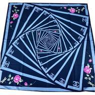 Шелковый женский платок Chanel синий 3120