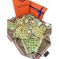 Женский платок шёлковый Louis Vuitton оливковый 00002