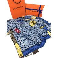 Женский платок шёлковый Louis Vuitton синий 00001