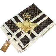 Женский новый шелковый платок Gucci с пчелкой коричневый 6047