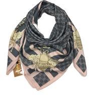 Шелковый женский платок Gucci с пчелкой серый с розовым 6046