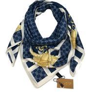 Женский шелковый платок Gucci с пчелкой синий с белым 6048