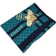 Женский шелковый платок Gucci с пчелкой бирюзовый 6049