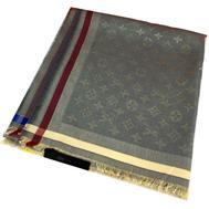 Платок Louis Vuitton Monogram серого цвета с серебром 4009