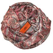Шелковый платок HERMES серый с розовым, R0001