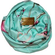 Шелковый платок Gucci голубой 90х90, 6019