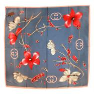 Шелковый платок Gucci синий 6022