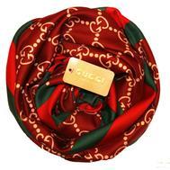 Шелковый женский платок Gucci красный 6025