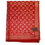 Палантин Louis Vuitton Monogram красный с золотом 1200