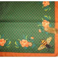 Шелковый женский платок Gucci 6052 зеленый с пчелкой