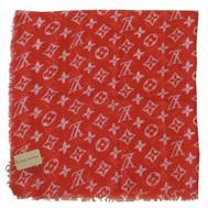 Платок Louis Vuitton 4054 красный хлопковый
