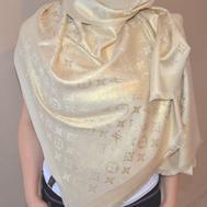 Палантин Louis Vuitton Monogram 5060 бежевый с золотом