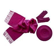 Комплект (берет, шарф, перчатки) 00301 фуксия