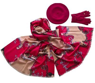 Комплект (берет, палантин, перчатки) Tranini 45038