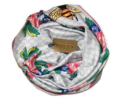 Шелковый женский платок Gucci с пчелкой светло-серый, 6042