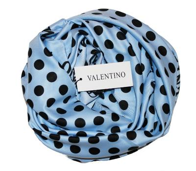 Платок шелковый Valentino голубой в черный горох 5007