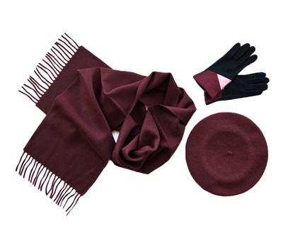 Комплект (берет, шарф, перчатки) 00181 винный