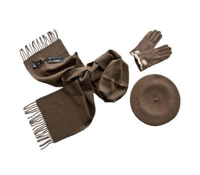 Комплект женский (берет, шарф, перчатки) 00451 темно-бежевый