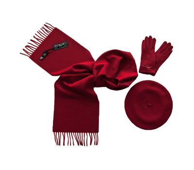 Комплект (берет, шарф, перчатки) 00631 темно-красный