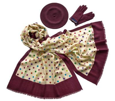 Комплект (берет, палантин, перчатки) Tranini 39005 бордовый
