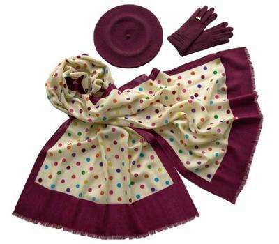 Комплект (берет, палантин, перчатки) Tranini 39006 бордовый