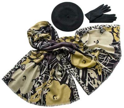 Комплект (берет, палантин, перчатки) Tranini 33001