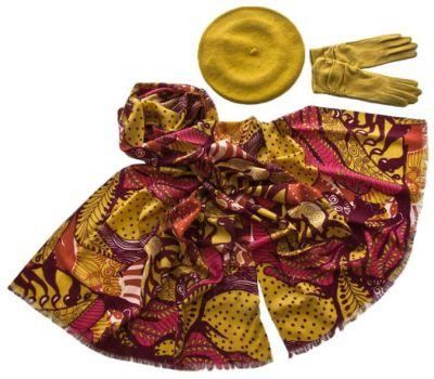 Комплект (берет, палантин, перчатки) Tranini 55003