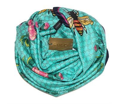 Шелковый женский платок Gucci с пчелкой бирюзовый 6041