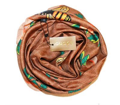 Шелковый женский платок Gucci с пчелкой коричневый 6044