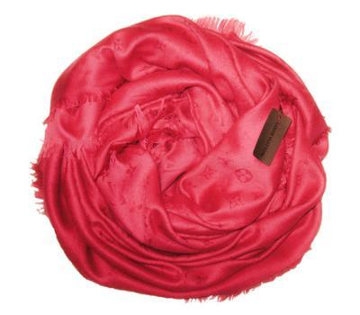 Платок Louis Vuitton Monogram горячий розовый 140х140
