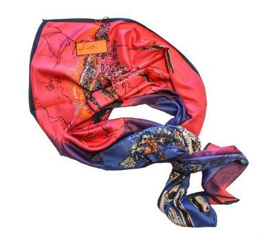 Шелковый платок HERMES розовый закат, 5136