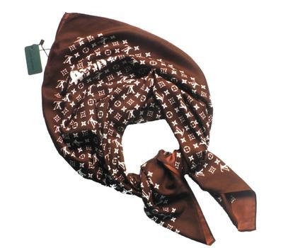 Платок шёлковый Louis Vuitton коричневый, 1131