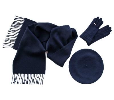Комплект (берет, шарф, перчатки) 00032 синий