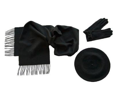 Комплект (берет, шарф, перчатки) 00422 черный