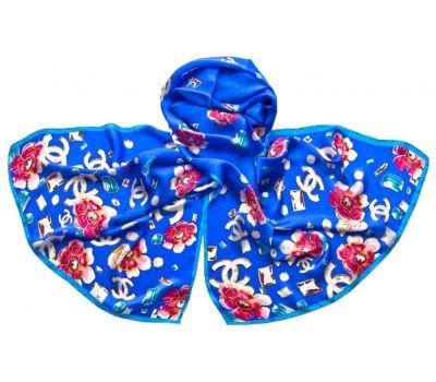 Палантин Chanel из шёлка 1706 голубой