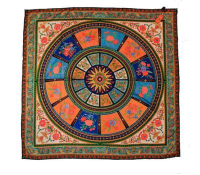 Шелковый платок HERMES оранжевый, R0002