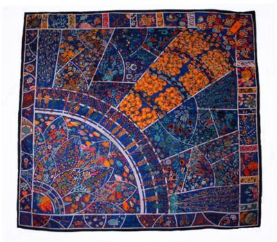 Шелковый платок HERMES синий