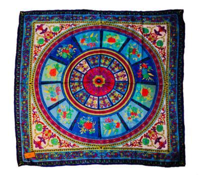 Шелковый платок HERMES голубой, R0003