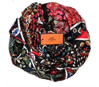 Шелковый платок HERMES черный, 5146