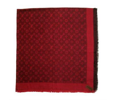 Платок Louis Vuitton бордовый с черным, 1185