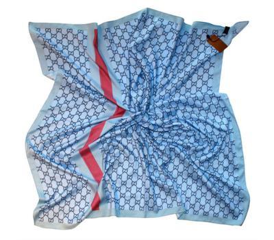 Платок Gucci голубой с розовой полосой, 6008