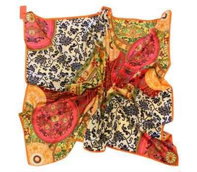 Шелковый платок HERMES розовый, 7102