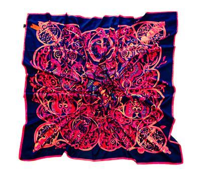 Шелковый платок HERMES синий с розовым, 5123