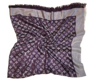 Шаль Louis Vuitton фиолетово-белый 140х140