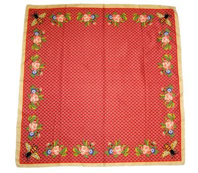 Шелковый женский платок Gucci красный с пчелкой, 6039